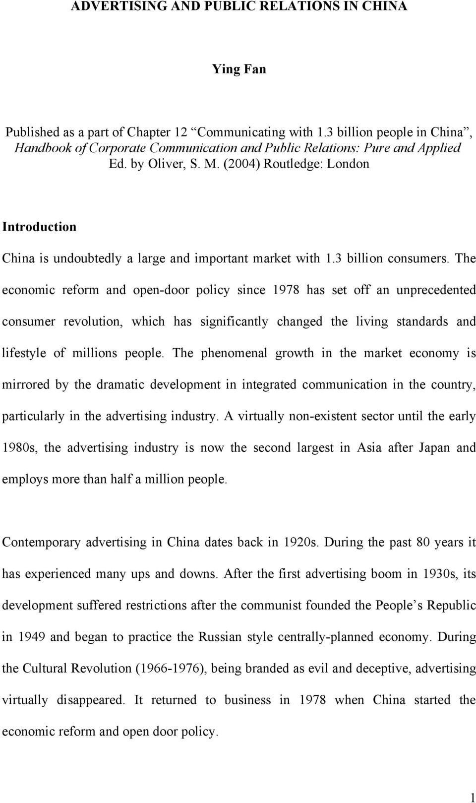Advertising And Public Relations In China Ying Fan Pdf