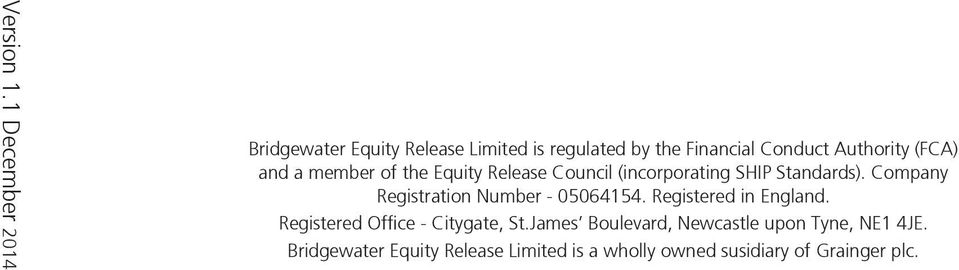 (FCA) and a member of the Equity Release Council (incorporating SHIP Standards).
