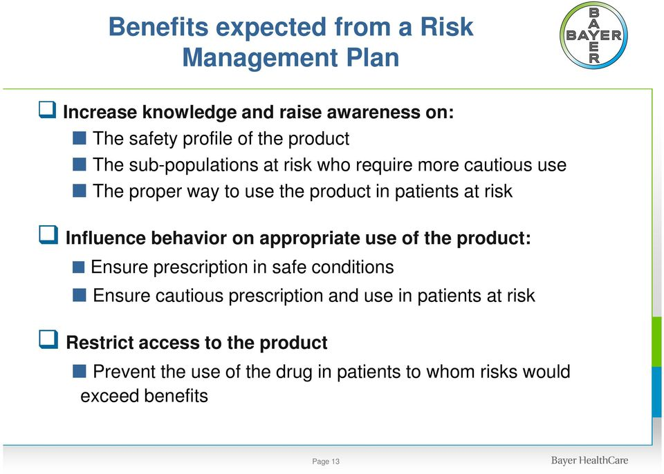 behavior on appropriate use of the product: Ensure prescription in safe conditions Ensure cautious prescription and use in