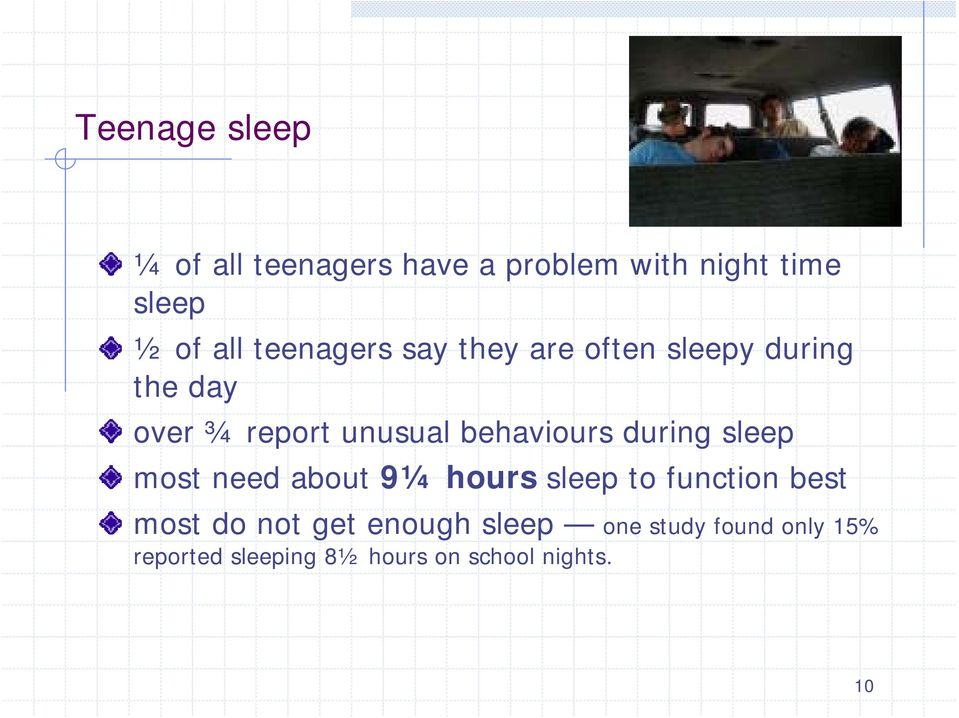 behaviours during sleep most need about 9¼ hours sleep to function best most do