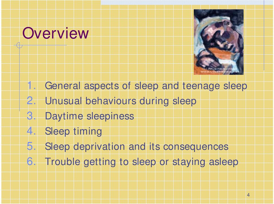 Unusual behaviours during sleep 3.