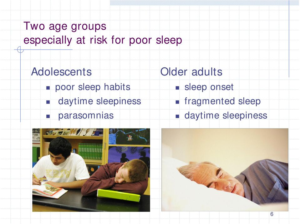 daytime sleepiness parasomnias Older