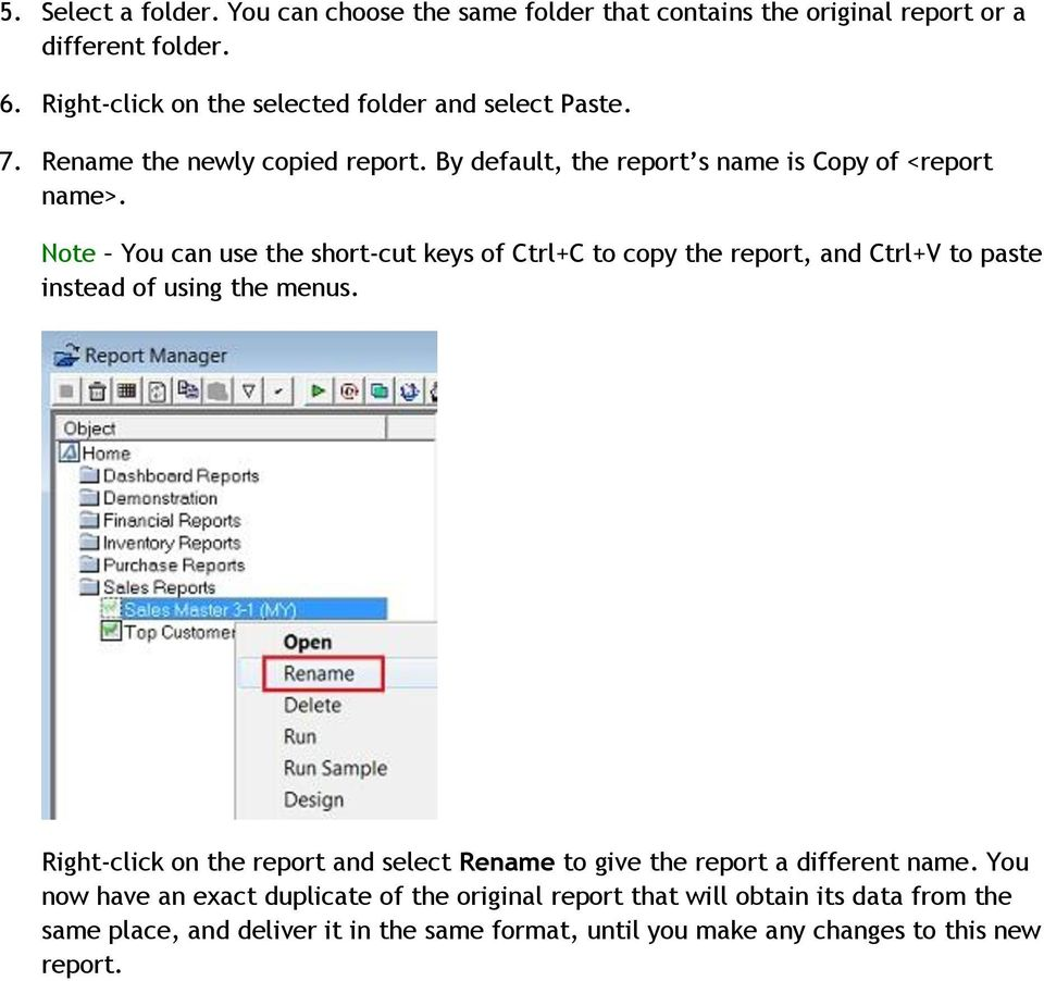 Note You can use the short-cut keys of Ctrl+C to copy the report, and Ctrl+V to paste instead of using the menus.