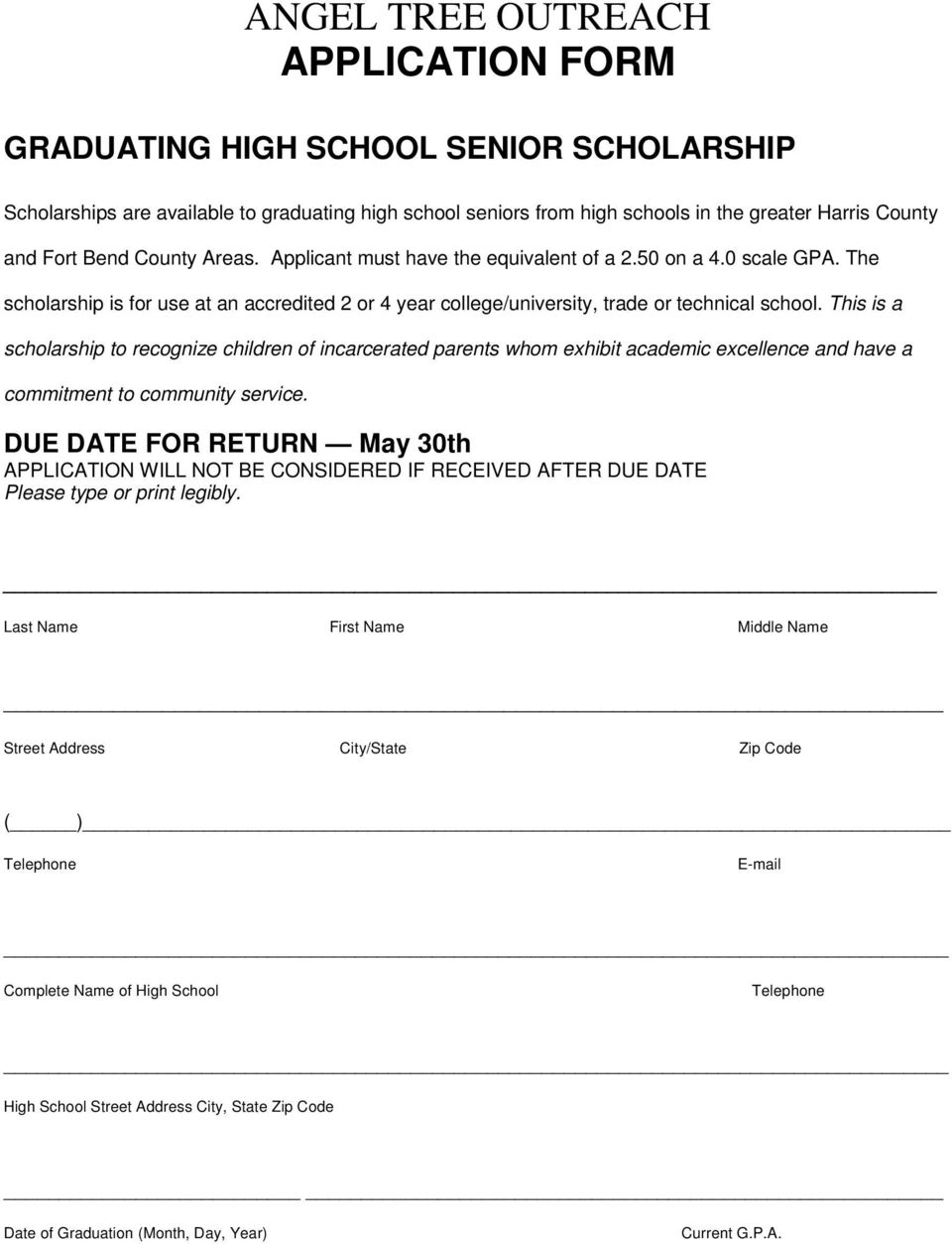 This is a scholarship to recognize children of incarcerated parents whom exhibit academic excellence and have a commitment to community service.