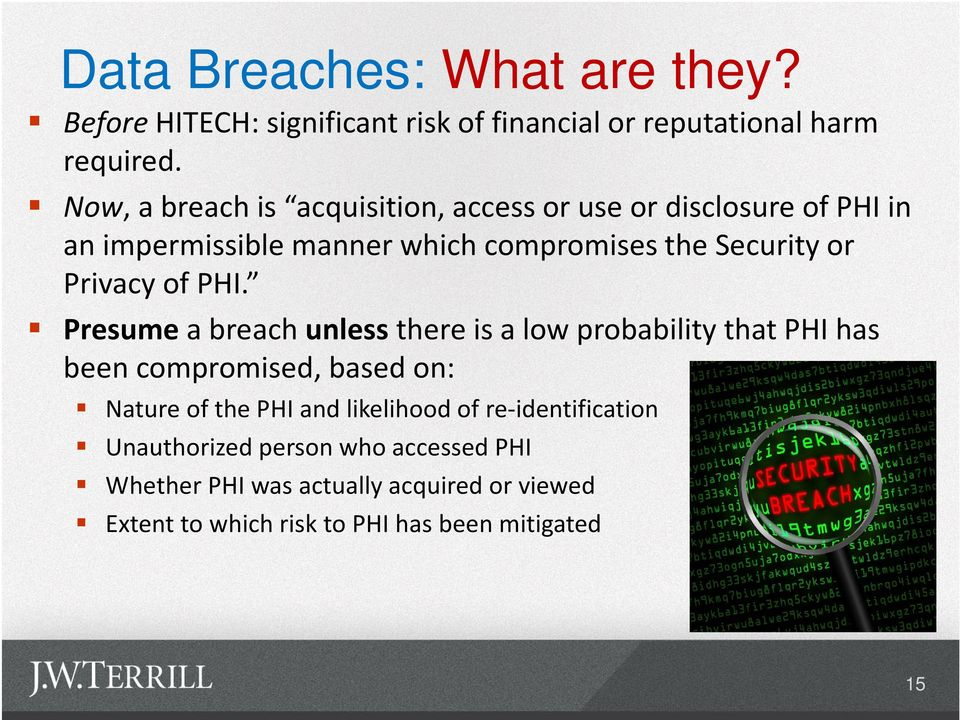 Privacy of PHI.