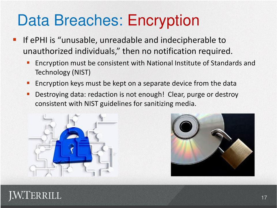 Encryption must be consistent with National Institute of Standards and Technology (NIST) Encryption