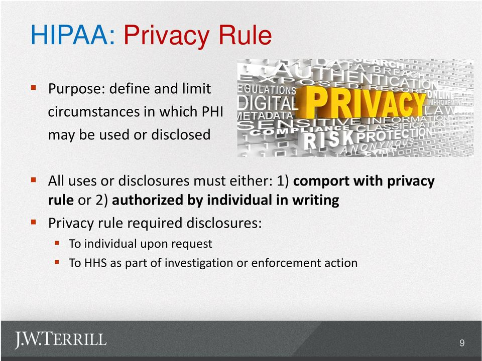 rule or 2) authorized by individual in writing Privacy rule required