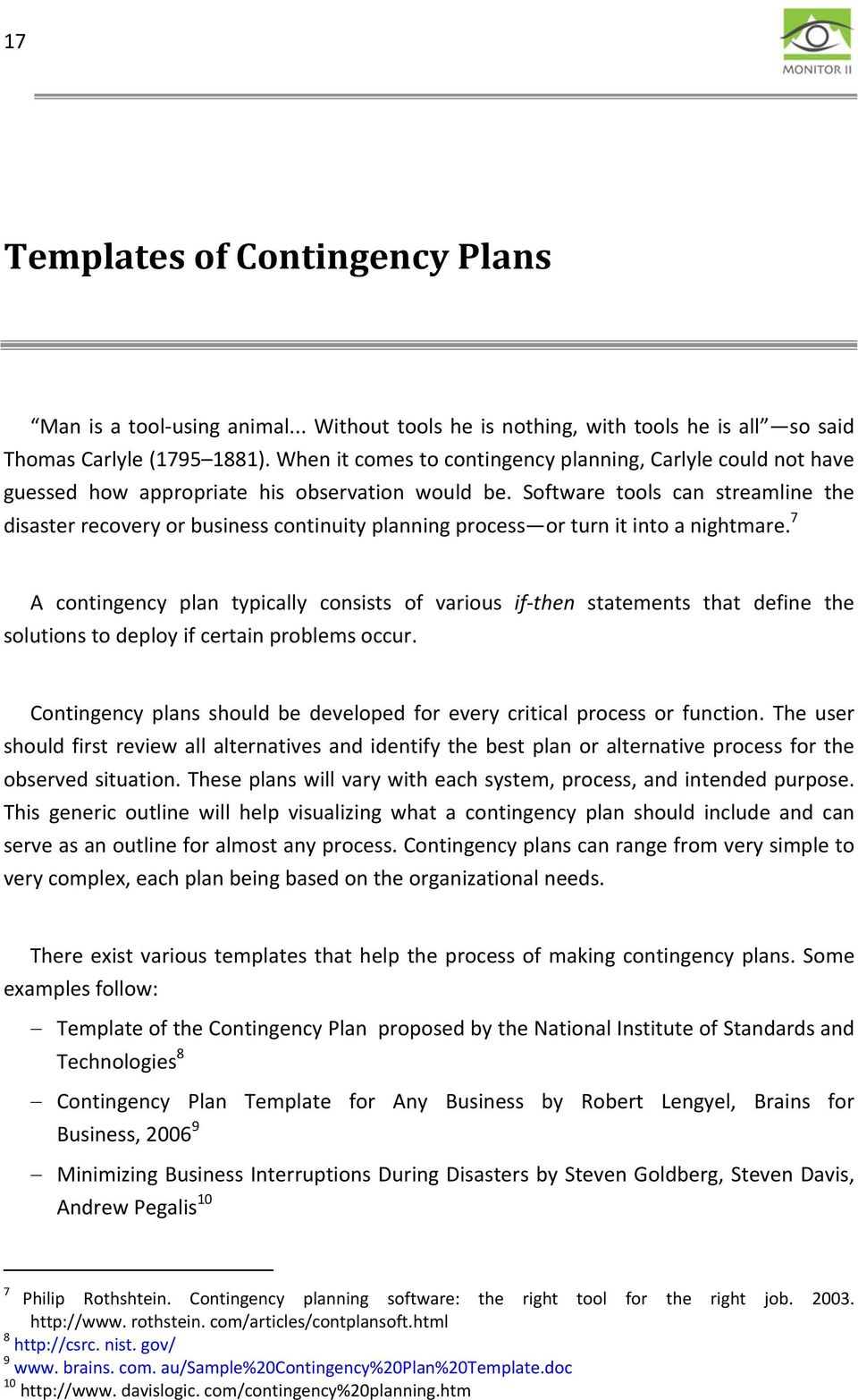 CONTINGENCY PLANNING: PROCESS, TEMPLATES, CURRENT STATE IN