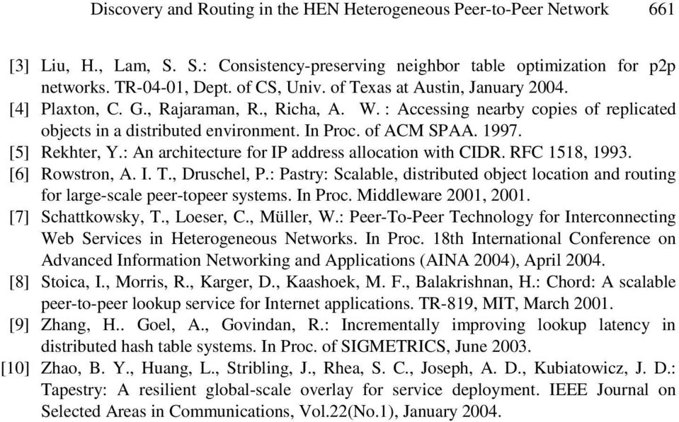 [5] Rekhter, Y.: An architecture for IP address allocation with CIDR. RFC 1518, 1993. [6] Rowstron, A. I. T., Druschel, P.