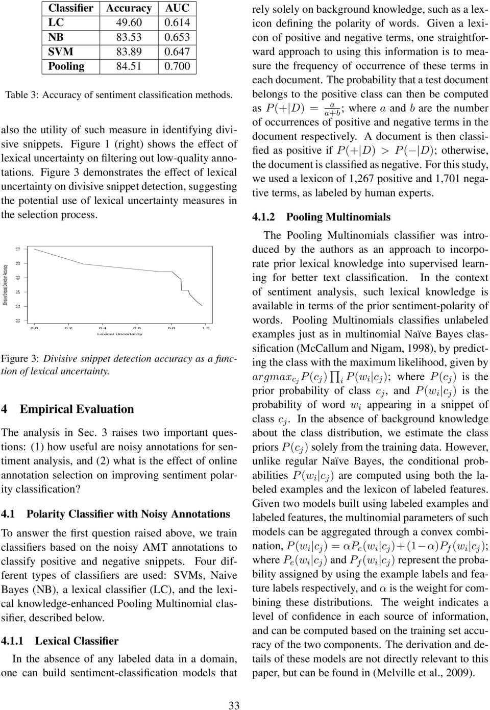 Figure 3 demonstrates the effect of lexical uncertainty on divisive snippet detection, suggesting the potential use of lexical uncertainty measures in the selection process.