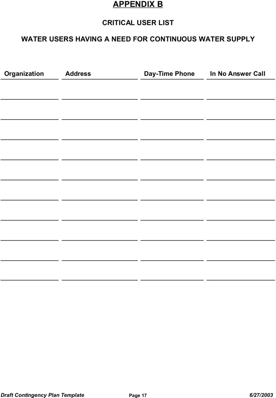 Organization Address Day-Time Phone In No