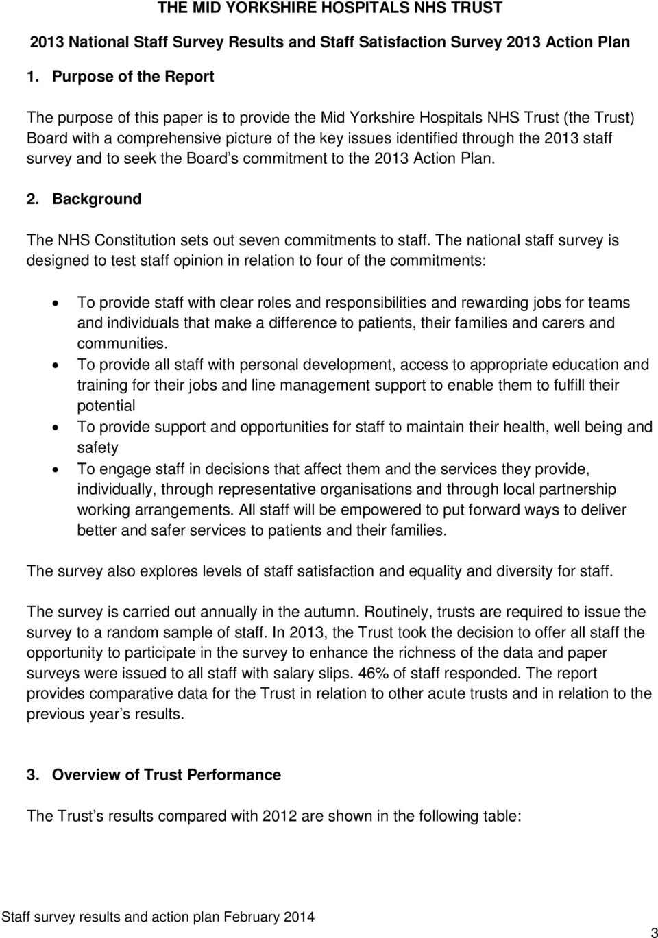 survey and to seek the Board s commitment to the 2013 Action Plan. 2. Background The NHS Constitution sets out seven commitments to staff.