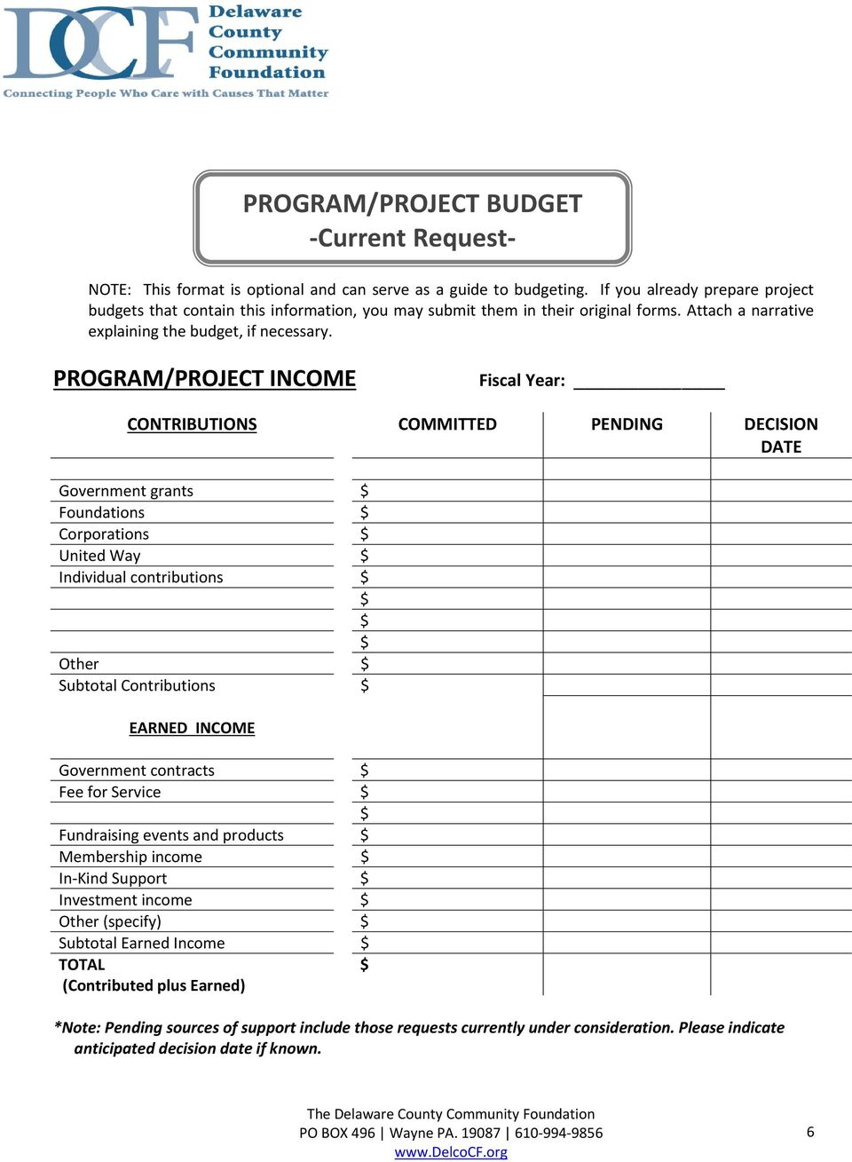 PROGRAM/PROJECT INCOME Fiscal Year: CONTRIBUTIONS COMMITTED PENDING DECISION DATE Government grants Foundations Corporations United Way Individual contributions Other Subtotal Contributions EARNED
