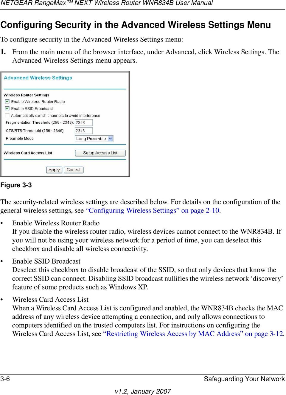 Figure 3-3 The security-related wireless settings are described below. For details on the configuration of the general wireless settings, see Configuring Wireless Settings on page 2-10.