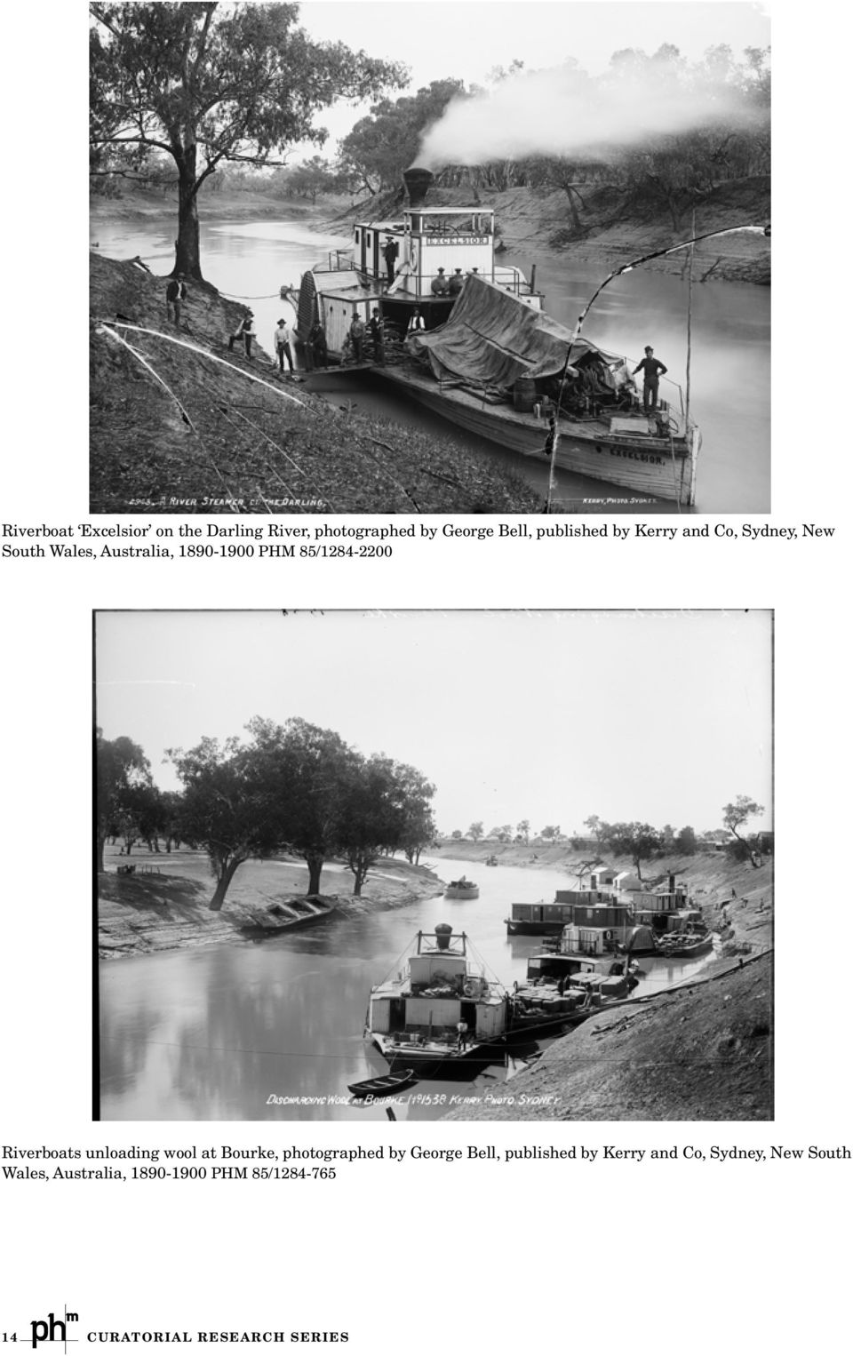 Riverboats unloading wool at Bourke, photographed by George Bell, published by Kerry