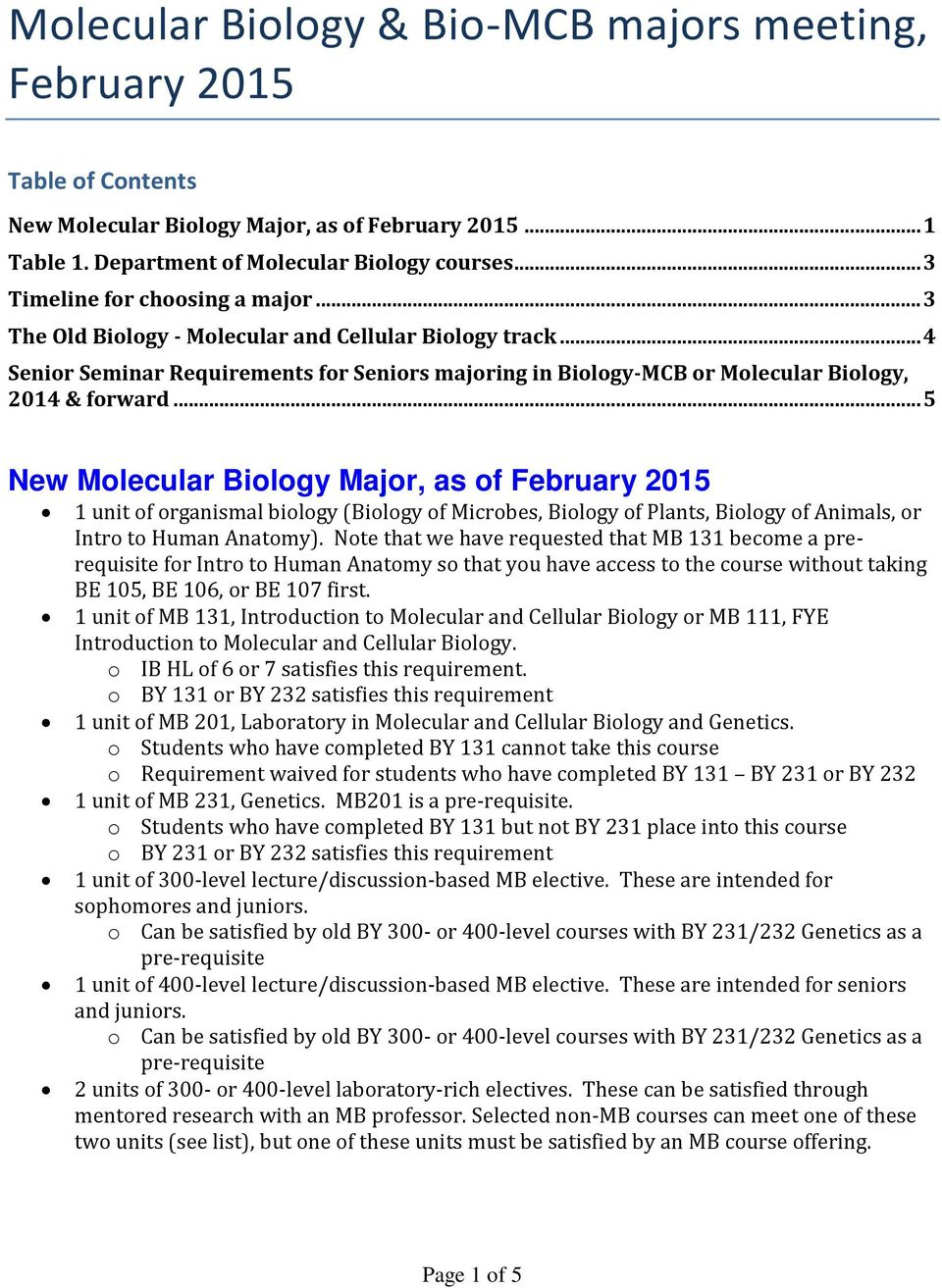 .. 5 New Molecular Biology Major, as of February 2015 1 unit of organismal biology (Biology of Microbes, Biology of Plants, Biology of Animals, or Intro to Human Anatomy).