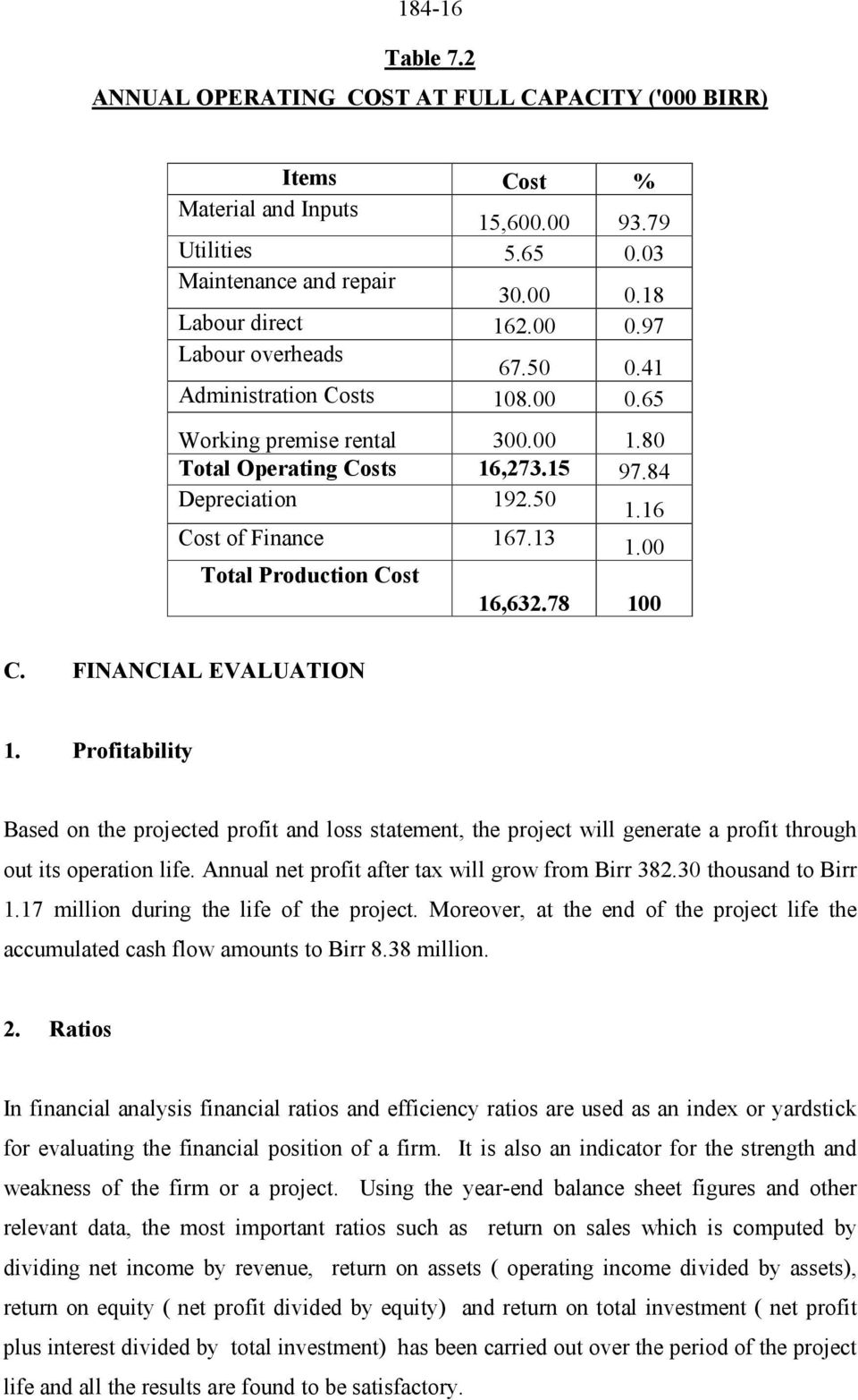 78 100 C. FINANCIAL EVALUATION 1. Profitability Based on the projected profit and loss statement, the project will generate a profit through out its operation life.