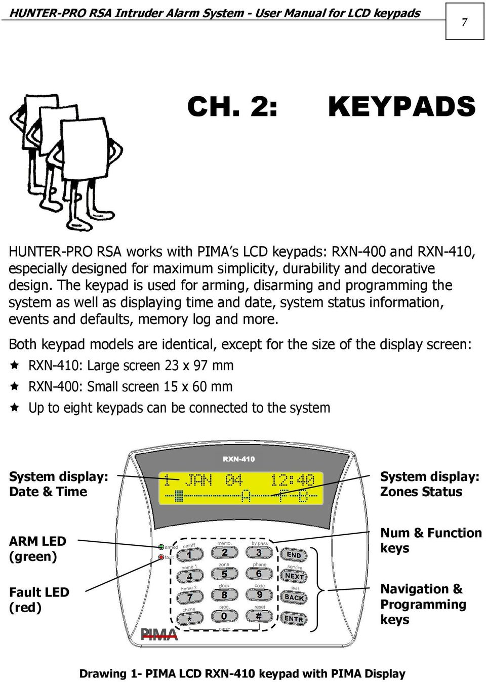 The keypad is used for arming, disarming and programming the system as well as displaying time and date, system status information, events and defaults, memory log and more.