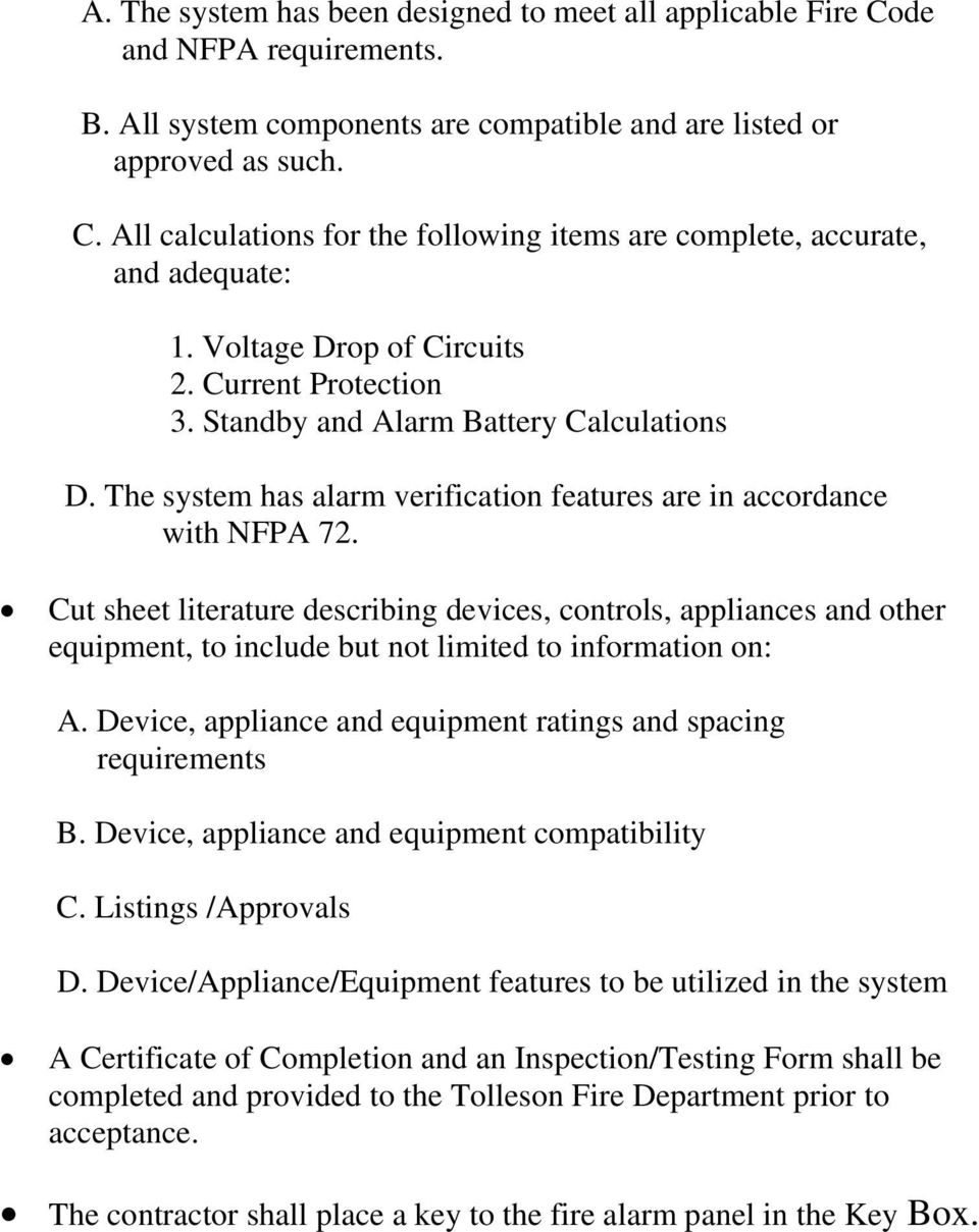 Cut sheet literature describing devices, controls, appliances and other equipment, to include but not limited to information on: A. Device, appliance and equipment ratings and spacing requirements B.