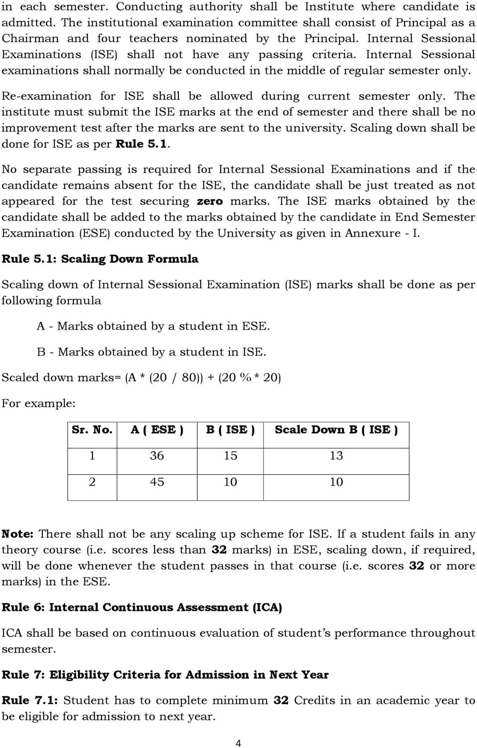 Internal Sessional Examinations (ISE) shall not have any passing criteria. Internal Sessional examinations shall normally be conducted in the middle of regular semester only.