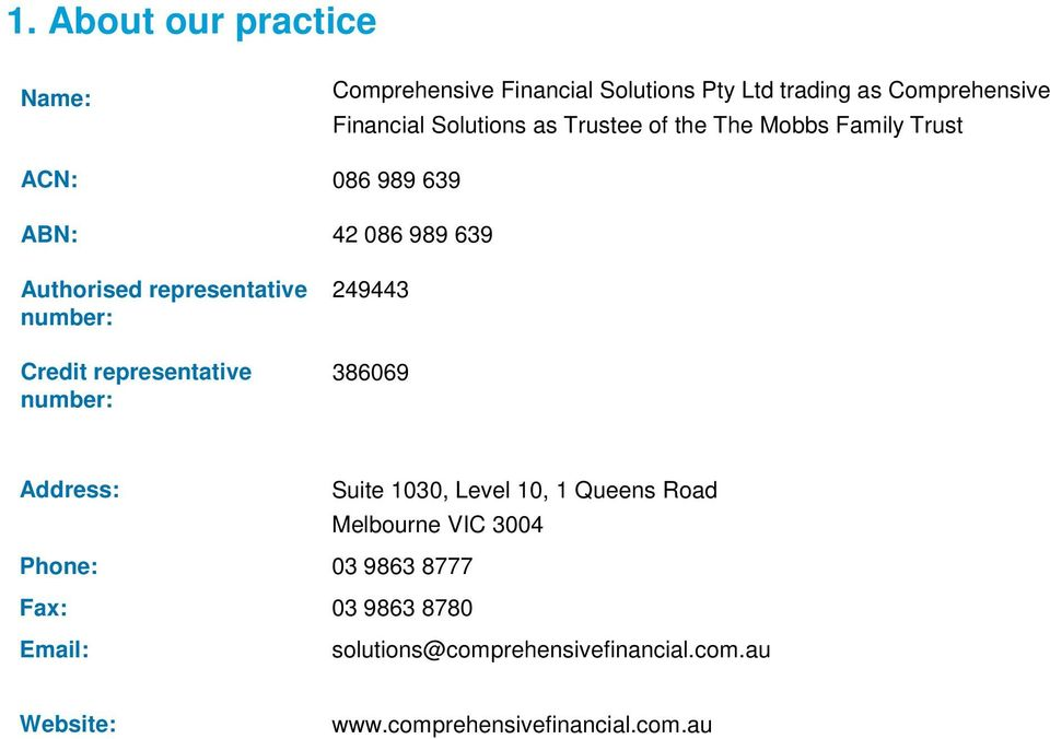representative Credit representative 249443 386069 Address: Suite 1030, Level 10, 1 Queens Road Melbourne VIC