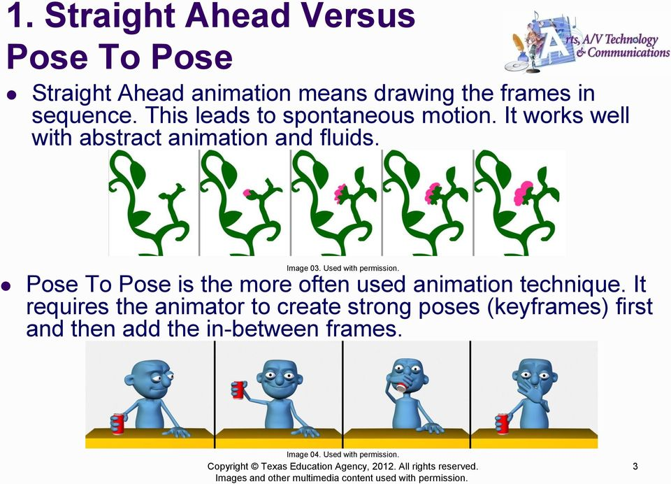 Used with permission. Pose To Pose is the more often used animation technique.