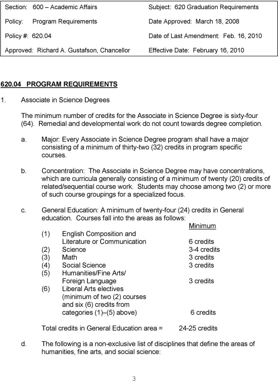 Remedial and developmental work do not count towards degree completion. a. Major: Every Associate in Science Degree program shall have a major consisting of a minimum of thirty-two (32) credits in program specific courses.