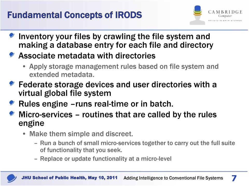 Federate storage devices and user directories with a virtual global file system Rules engine runs real-time or in batch.