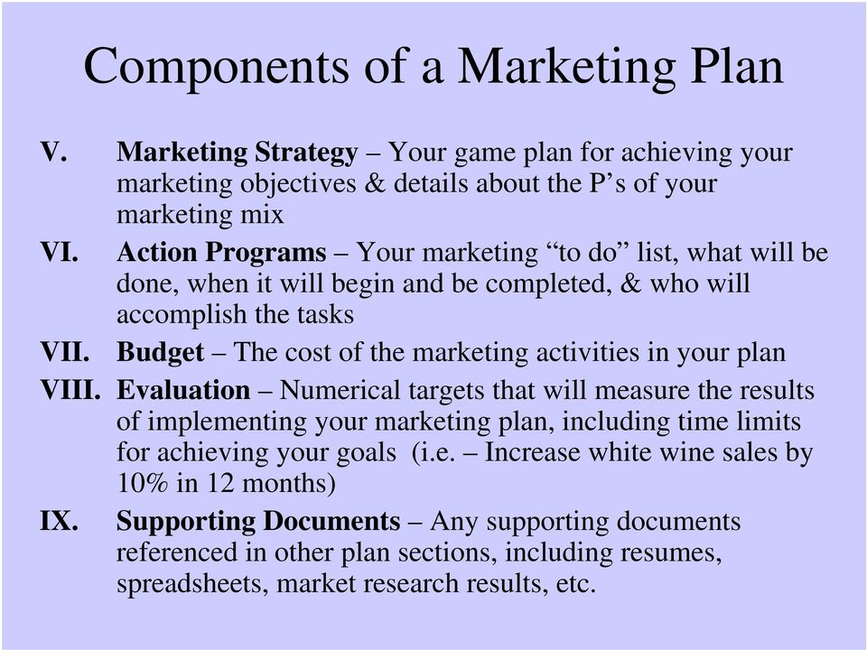 Budget The cost of the marketing activities in your plan VIII.