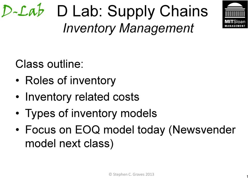 Types of inventory models Focus on EOQ model today