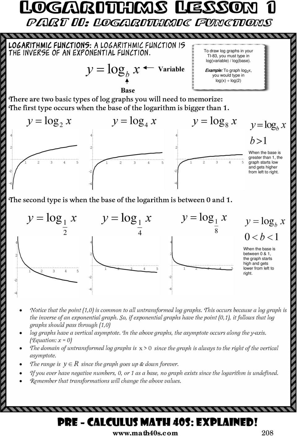 Base There are two basic tpes of log graphs ou will need to memorize: The first tpe occurs when the base of the logarithm is bigger than.