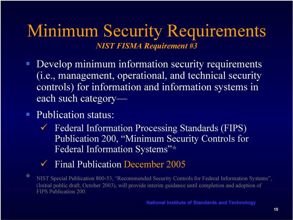 uirements NIST FISMA Requirement #3 Develop minimum information security requirements (i.e., management, operational, and technical security controls) for