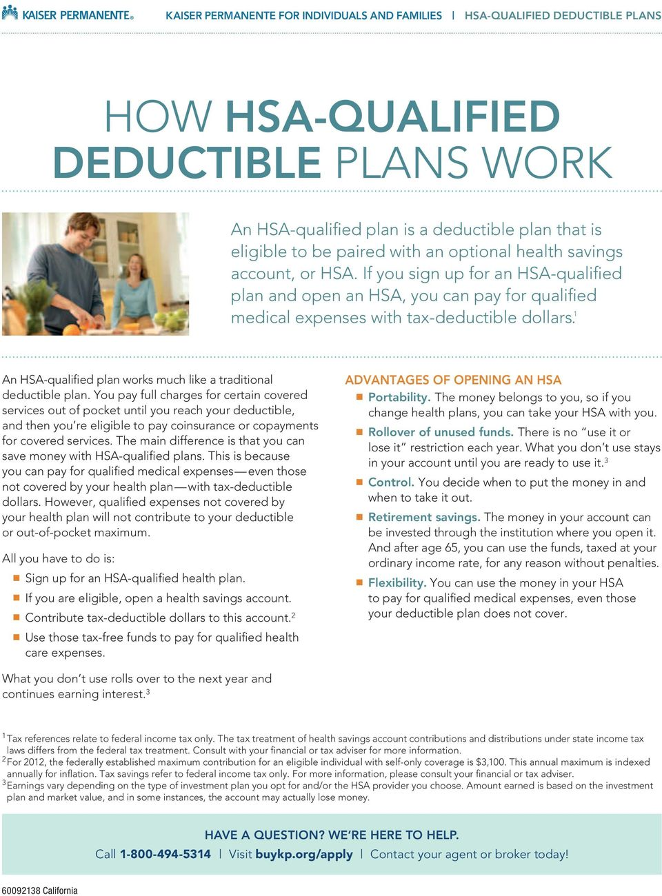 1 An HSA-qualified plan works much like a traditional deductible plan.