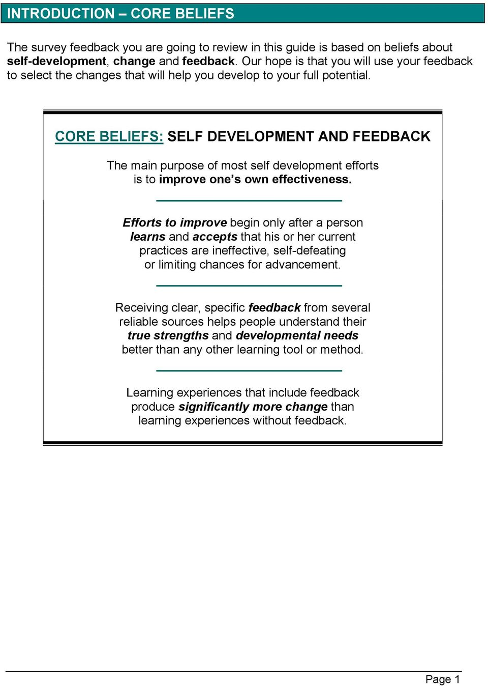 CORE BELIEFS: SELF DEVELOPMENT AND FEEDBACK The main purpose of most self development efforts is to improve one s own effectiveness.