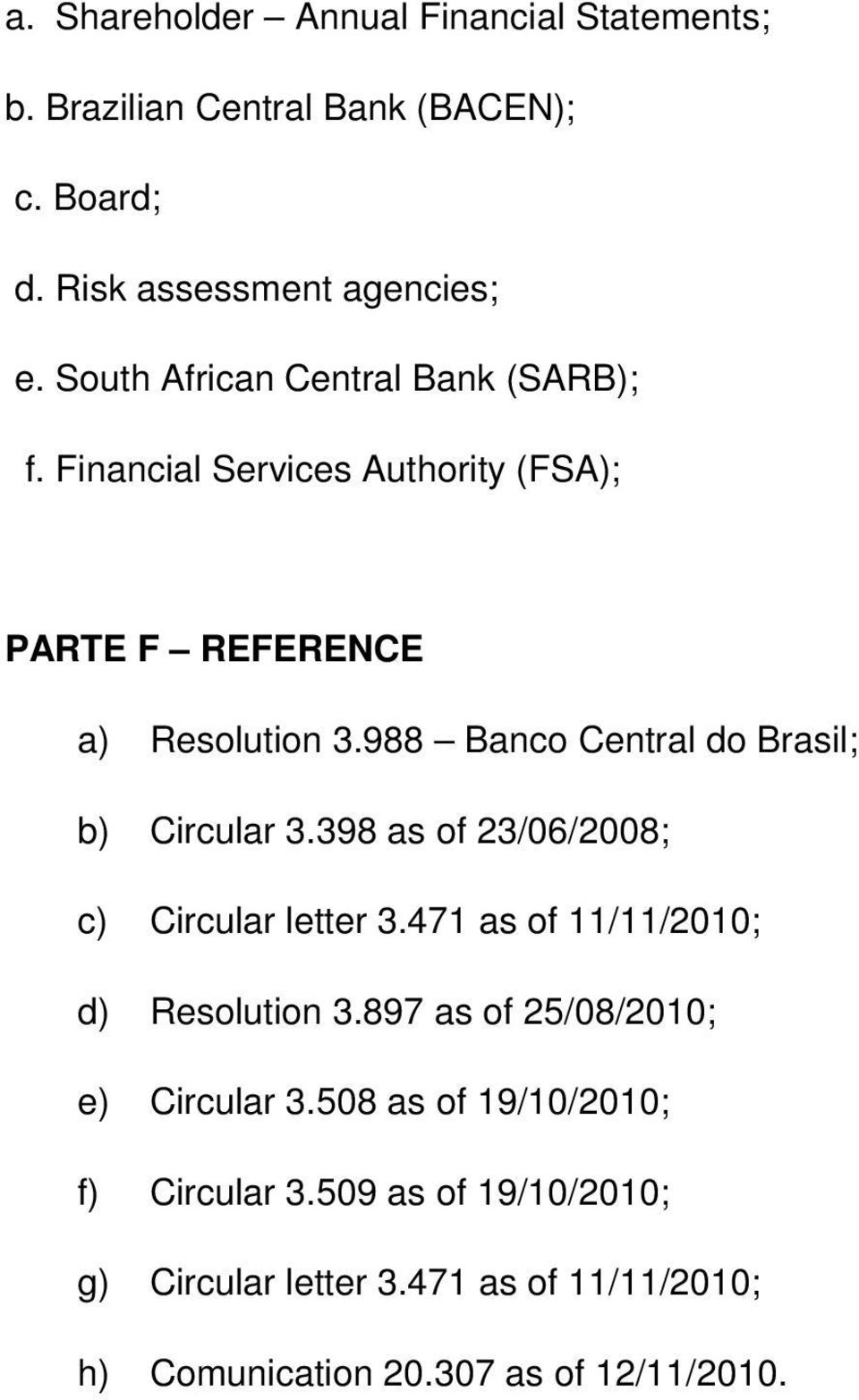 988 Banco Central do Brasil; b) Circular 3.398 as of 23/06/2008; c) Circular letter 3.471 as of 11/11/2010; d) Resolution 3.