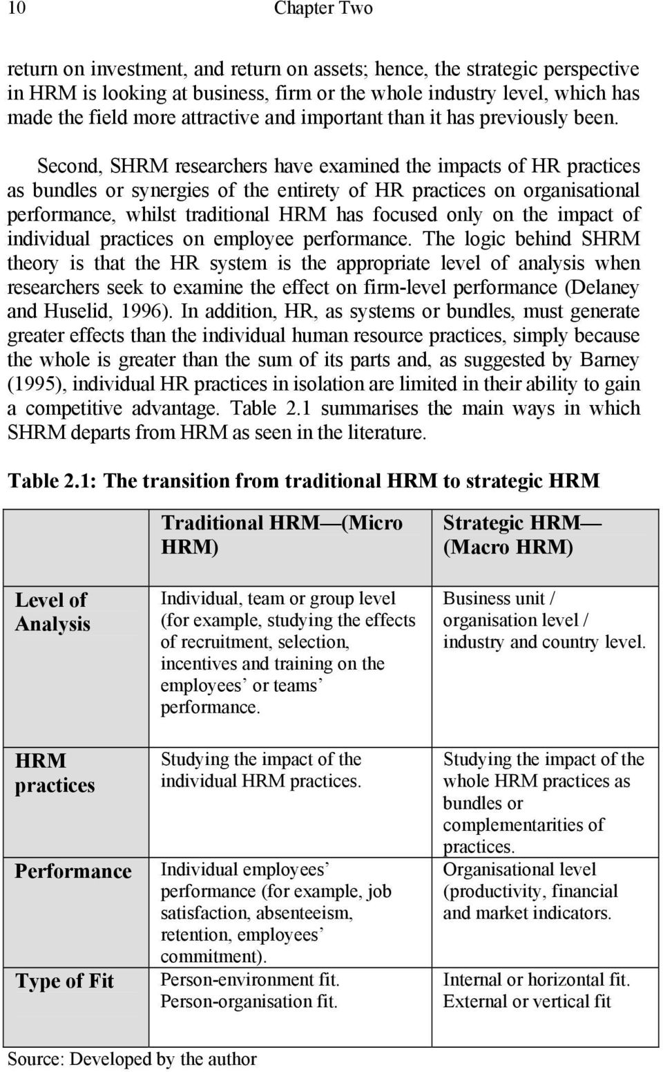 Second, SHRM researchers have examined the impacts of HR practices as bundles or synergies of the entirety of HR practices on organisational performance, whilst traditional HRM has focused only on
