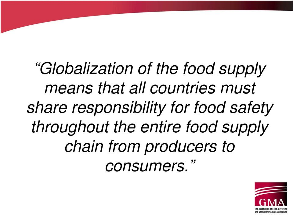 responsibility for food safety throughout