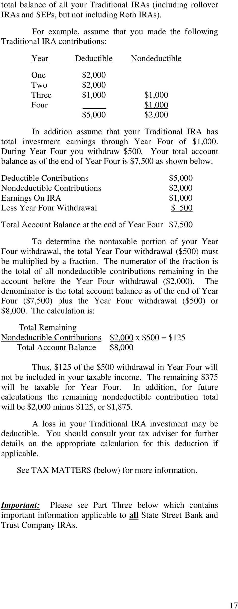 that your Traditional IRA has total investment earnings through Year Four of $1,000. During Year Four you withdraw $500. Your total account balance as of the end of Year Four is $7,500 as shown below.
