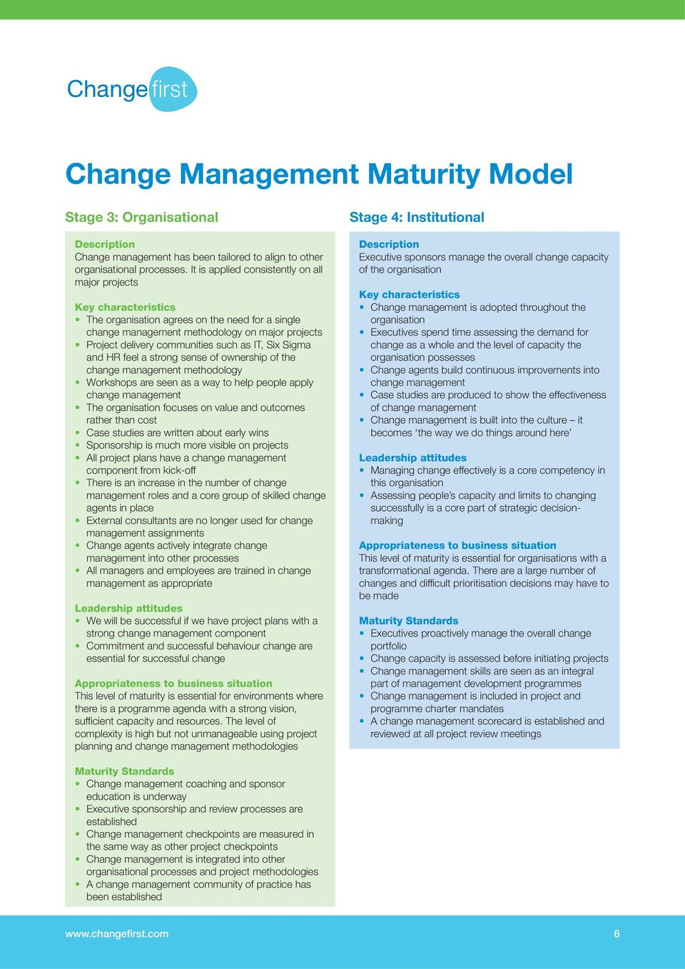 as IT, Six Sigma and HR feel a strong sense of ownership of the change management methodology Workshops are seen as a way to help people apply change management The organisation focuses on value and