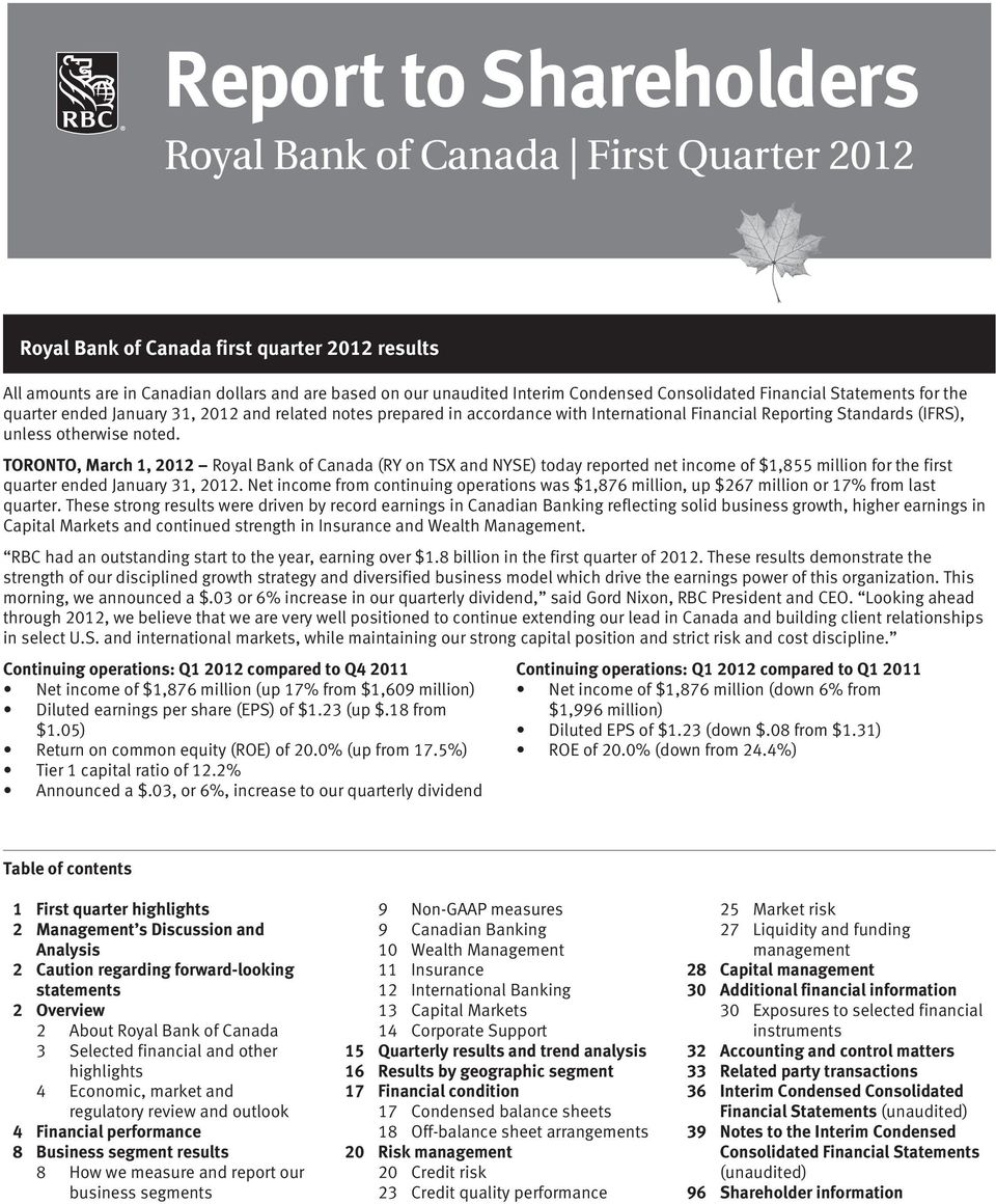 TORONTO, March 1, Royal Bank of Canada (RY on TSX and NYSE) today reported net income of $1,855 million for the first quarter ended,.