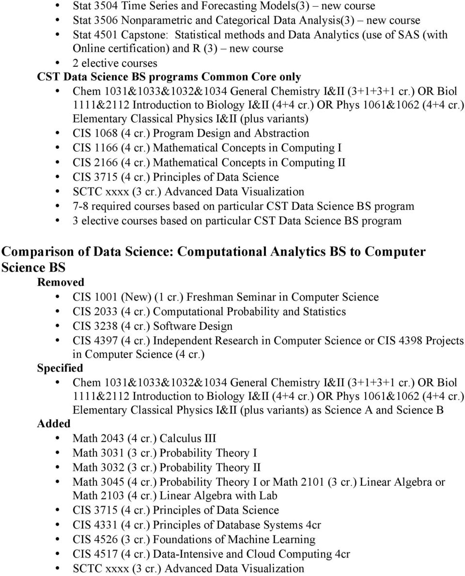 ) OR Biol 1111&2112 Introduction to Biology I&II (4+4 cr.) OR Phys 1061&1062 (4+4 cr.) Elementary Classical Physics I&II (plus variants) CIS 1068 (4 cr.) Program Design and Abstraction CIS 1166 (4 cr.