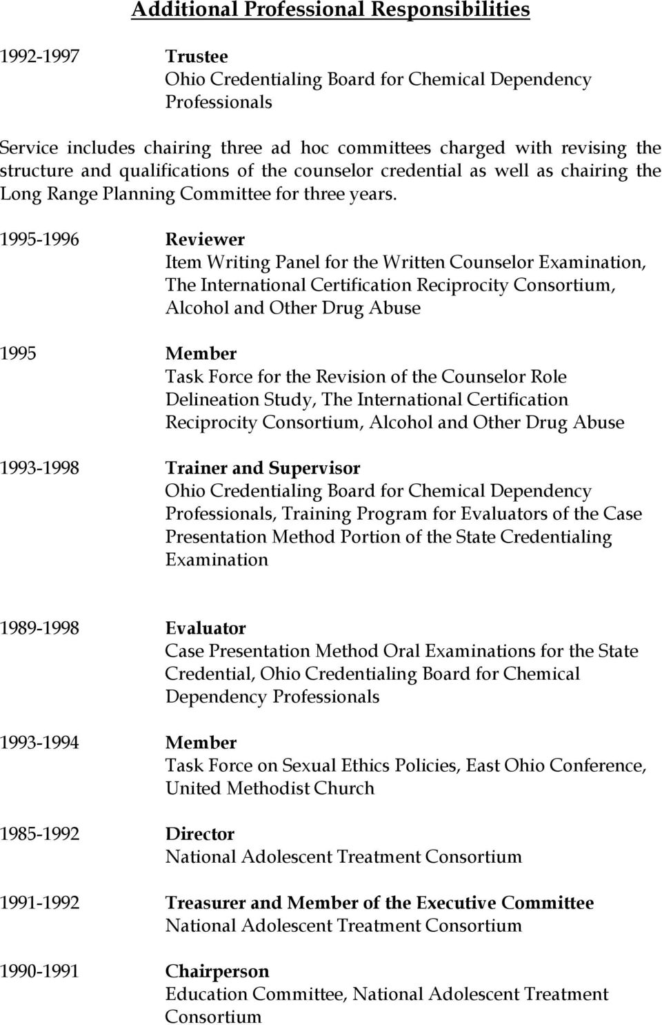 1995-1996 Reviewer Item Writing Panel for the Written Counselor Examination, The International Certification Reciprocity Consortium, Alcohol and Other Drug Abuse 1995 Member Task Force for the