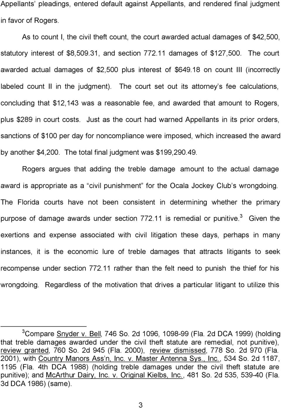 The court awarded actual damages of $2,500 plus interest of $649.18 on count III (incorrectly labeled count II in the judgment).