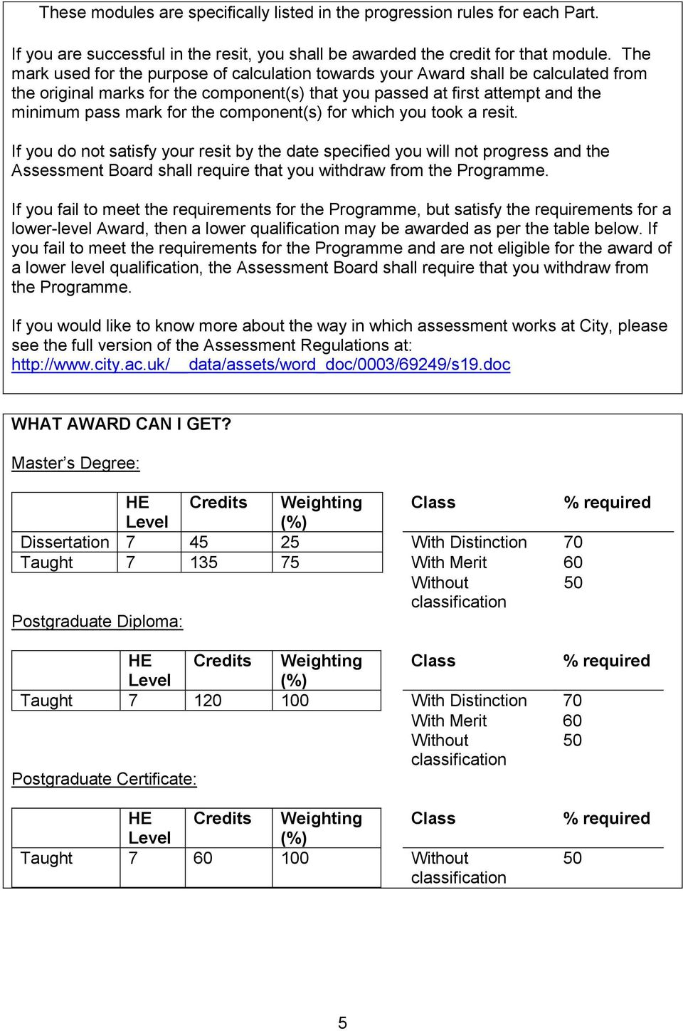 component(s) for which you took a resit. If you do not satisfy your resit by the date specified you will not progress and the Assessment Board shall require that you withdraw from the Programme.