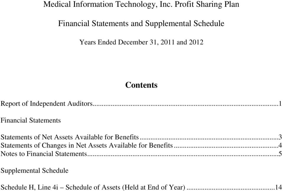 ..1 Financial Statements Statements of Net Assets Available for Benefits.