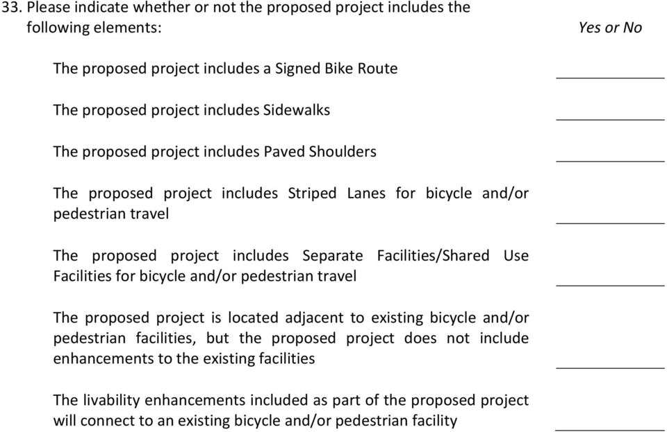 Facilities/Shared Use Facilities for bicycle and/or pedestrian travel The proposed project is located adjacent to existing bicycle and/or pedestrian facilities, but the proposed