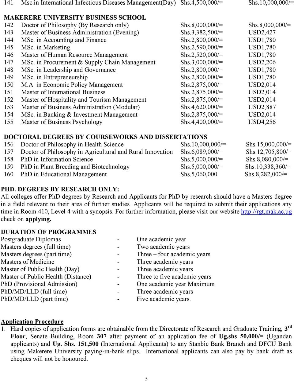 2,590,000/= USD1,780 146 Master of Human Resource Management Shs.2,520,000/= USD1,780 147 MSc. in Procurement & Supply Chain Management Shs.3,000,000/= USD2,206 148 MSc.