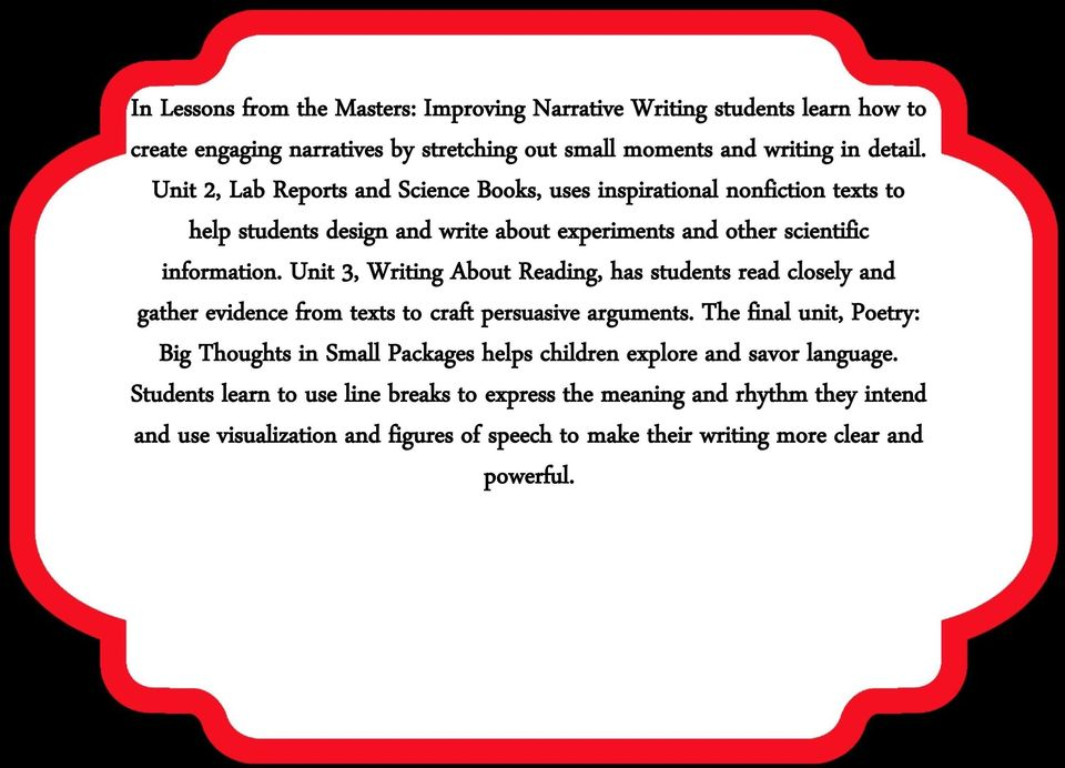Unit 3, Writing About Reading, has students read closely and gather evidence from texts to craft persuasive arguments.