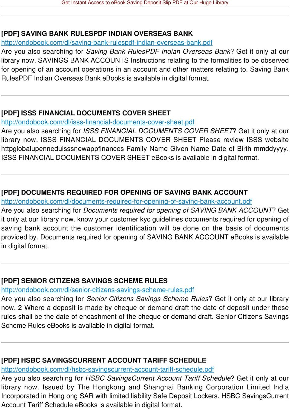 Saving Bank RulesPDF Indian Overseas Bank ebooks is [PDF] ISSS FINANCIAL DOCUMENTS COVER SHEET http://ondobook.com/dl/isss-financial-documents-cover-sheet.