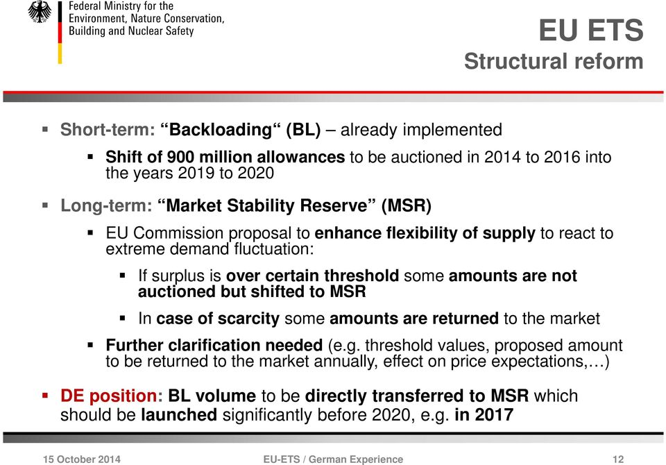 are not auctioned but shifted to MSR In case of scarcity some amounts are returned to the market Further clarification needed (e.g.